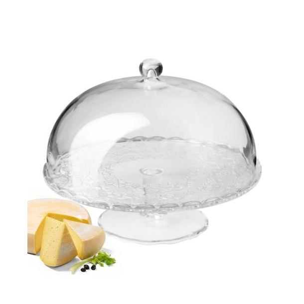 Kage / Ost Serveringsfad med låg, klart glas